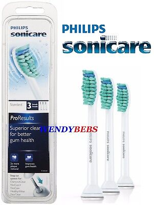 3 Genuine Philips Sonicare Proresults Hx6013 Toothbrush Replacement Brush Heads