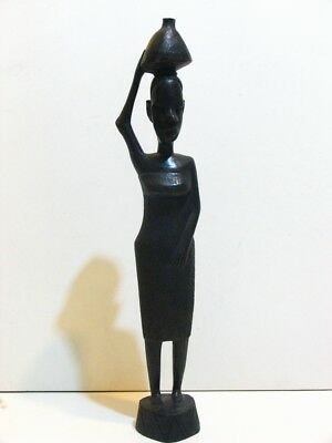 Ebony Wood Sculpture Tribal African Art Carved Woman Statue Carrying Jar