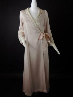 ALICE MALOOF - 1950s Pink Charmeuse Peignoir Set, Size-8