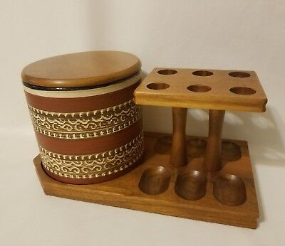 Vintage Iwan Ries & Co Wood 6 Tobacco Pipe Stand Holder Ceramic Humidor Germany