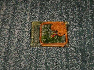 Vintage Rare Kitchen Spoon Rest With Floral & Basket Pieces in Resin Lucite, GUC