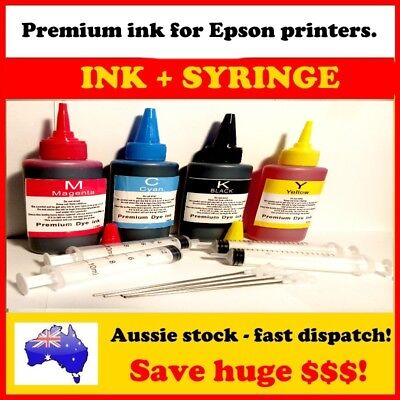 4x100 ml bottles of  EPSON compatible REFILL BULK INK for cartridges or CISS
