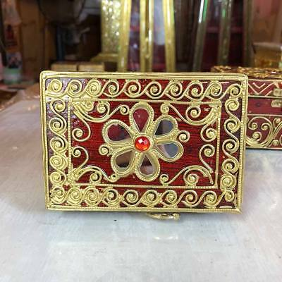 Teak Trinket Lacquered Jewelry Box Lock Carved Treasure Chest  Wooden Thai