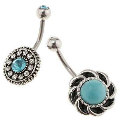 3Pcs Belly Button Bar Navel Ring Turquoise Stainless Steel fpr Women Girls