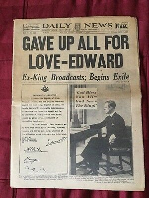 King Edward VIII Abdicates -British Monarchy- 1936 New York Daily News Newspaper