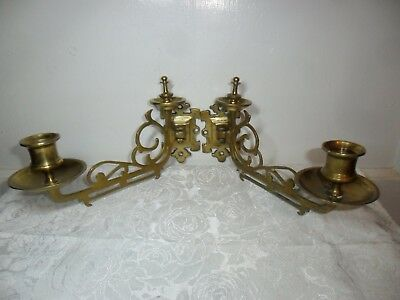 """Antique/Vintage Brass Ornate Candle Sconces - Wall Hanging - 9"""" Long & Heavy!!"""
