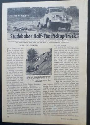 1953 STUDEBAKER Pick-up Truck Product Review Magazine Article
