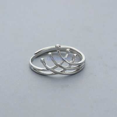 925 Sterling Silver Crown Ring Stackable Simple Open Jewellery Adjustable Lady