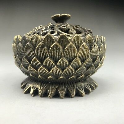 China ancient pure copper incense burner pure hand - made lotus image.