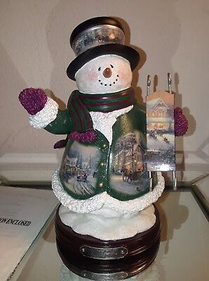 Collectible Thomas Kinkade ''village Christmas'' Snowman With Coa
