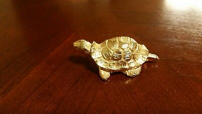 Old Antique Vintage Metal Cast Brass Small Turtle Paper Weight Figurine mini