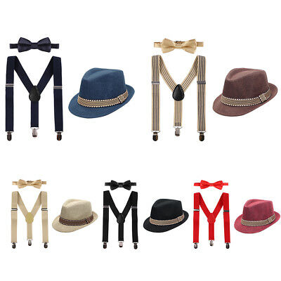 Baby Kid Boys Formal Fedora Bow Tie & Suspenders Bundle Hat 3pcs Outfits Clothes