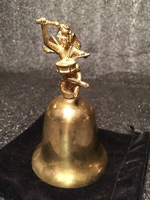 "4.5"" Unique Vintage Or Antique Cherub Drummer Boy Brass Bell"