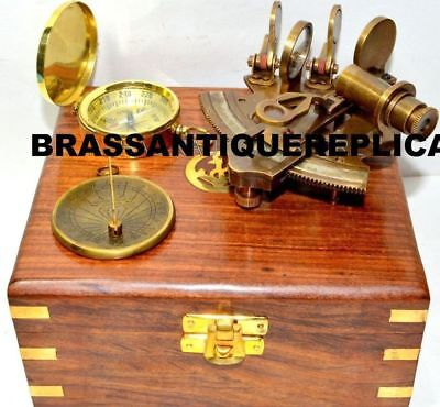 BRASS VINTAGE SEXTANT WITH TRAVELLING WOODEN BOX W/ COMPASS Maritime Gift