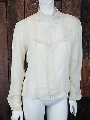 Vintage Pattys Closet Blouse 11 Ivory Gauze and Lace Boho Victorian