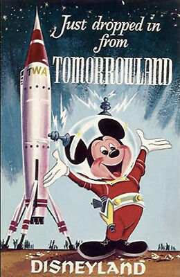 1950s Disneyland advertisement poster Mickey Mouse drops by Tomorrow land