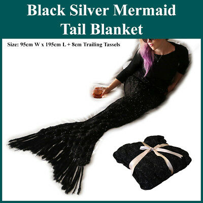 Black Silver Sparkle Scaled Mermaid Tail Blanket With Tassels Crochet Knitting
