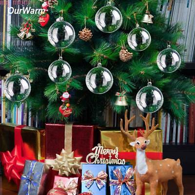 50x DIY Clear Glass Transparent Balls Fillable Baubles Christmas Tree Ornament