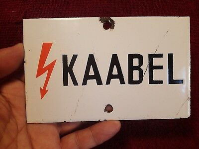 """ HIGH VOLTAGE CABLE "" 1950-s VINTAGE HEAVY ENAMEL SIGN PLAQUE ESTONIAN LANGUAGE"