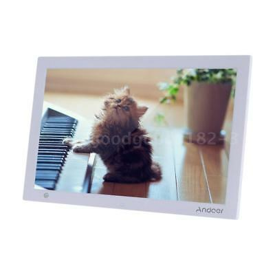 """15.4"""" HD 1080P LED Digital Photo Picture Frame Movie Player Remote Control White"""