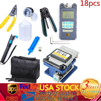 Fiber Optic FTTH Tool Kit w/ FC-6S Fiber Cleaver & Optical Power Meter Finder