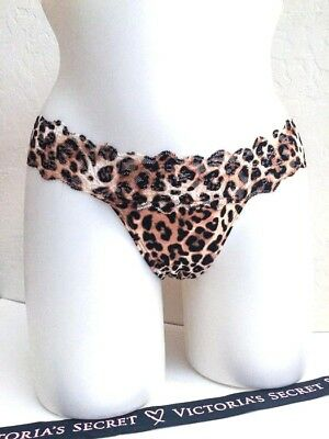 4a77495b2336 Victorias Secret THONG Panty Panties SEXY Leopard Cheetah Lace Waist PINK  NWT XS