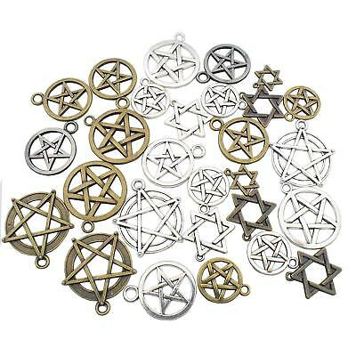 Tibetan Silver Star Pagan Wicca Gothic Pentagram Charms Pendant Jewelry Finding
