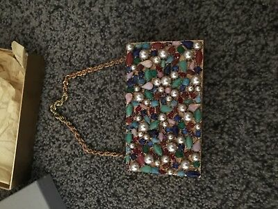 RARE!! EVANS Vintage Gold Metal and Stones Compact Clutch with Original Box