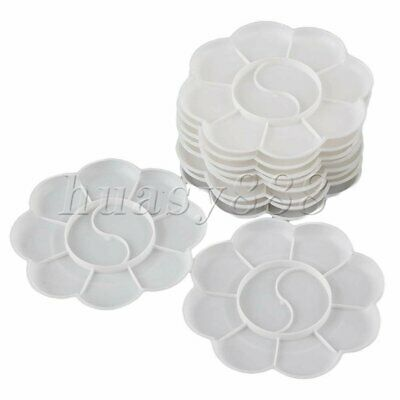 10PCS 18 Grid Round Watercolor Oil Paint Plastic Palette Tray Artist Drawing