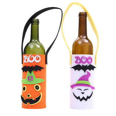 Halloween Ghost Wine Bottle Bag Cover Pumpkin Cloth Case Home Table Ornament