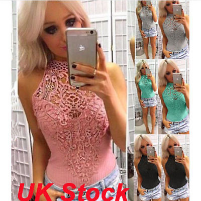 Womens Ladies Lace Sleeveless Bodysuit Stretch Choker Lingerie Leotard Sexy Tops