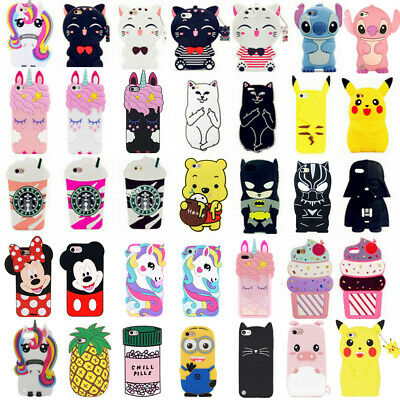 3D Cartoon Silicone Rubber Soft Case Cover Skin For iPhone SE/7/8 iPod Touch 6/5