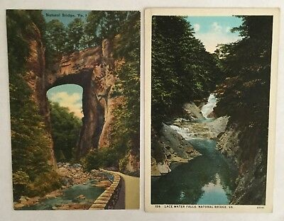 Old Vintage Postcards (2) - Natural Bridge and Lace Water Falls, VA