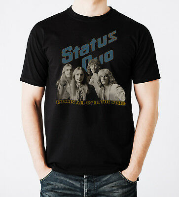 Status Quo Rock Band Rockin All Over The World Black Men Printed T-shirt