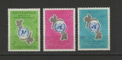 Royaume du Laos 3 timbres non oblitérés 1965 Nations Unies /T2730