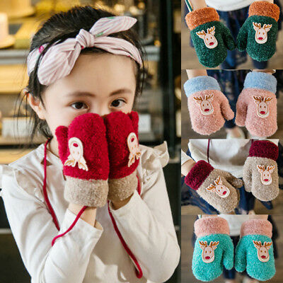 Toddler Kid Baby Girl Boy Thick Xmas Winter Warm Finger Gloves Rope Mittens