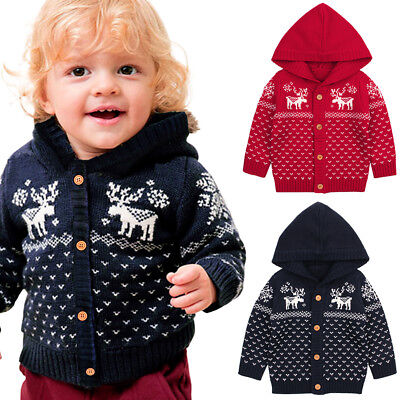 Infant Baby Boys Girls Christmas Sweater Cartoon Fancy Knitting Hooded Coat New