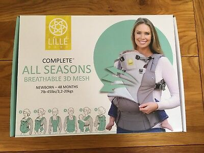 NEW Unopened Lille Baby Complete All Seasons Breathable 3D Mesh Carrier. Grey