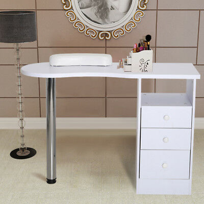 White Wooden Beauty Salon Manicure Nail Table Station Side Drawer Storage Desk