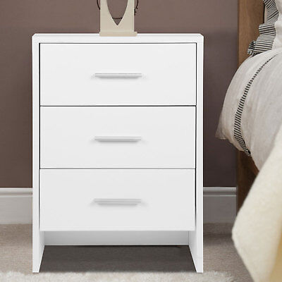 Bedside Table White Nightstand Cabinet Chest of 3 Drawers Home Bedroom Storage