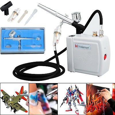 Voilamart 0.3mm Airbrush Compressor Kit Dual Action Set Make Up Gift 7cc Ink Cup