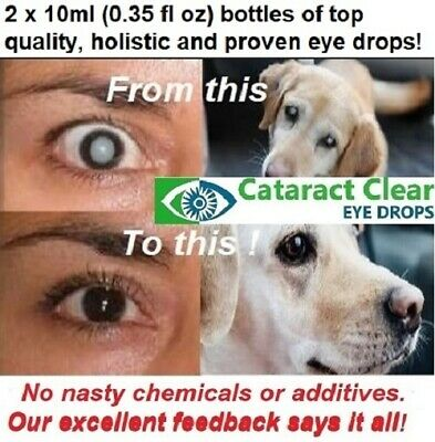 Cataract eye drops. 2% & 4.2% strength N.A.C. Superb & proven on people & dogs!