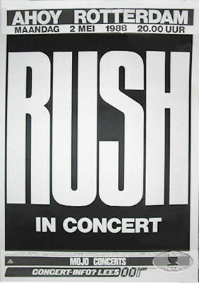 RUSH 1988 HOLD YOUR FIRE European Tour Concert Poster Neil Peart