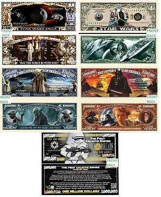 Star Wars Set of 5 Million Dollar Bill Funny Money Novelty Notes + FREE SLEEVES