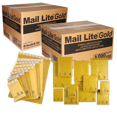 Sealed Air Mail Lite Padded Bubble Envelopes Small - Large Packing Bags - Gold