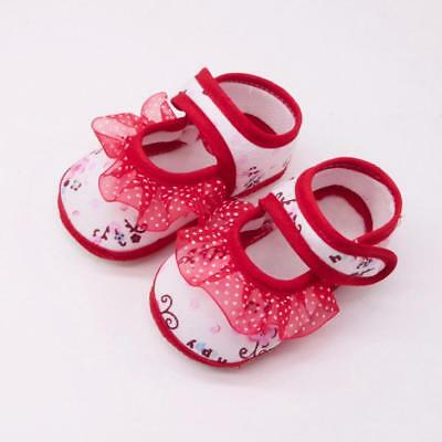 Newborn Infant Kids Baby Girls Soft Shoes Soled Lace Floral Footwear Crib Shoes