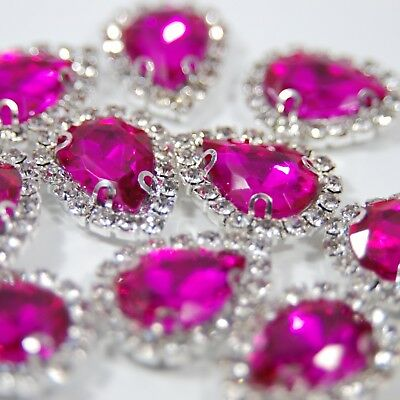 Hot Pink Flatback Rhinestones Drop Shape with Diamante Surround - Sew On