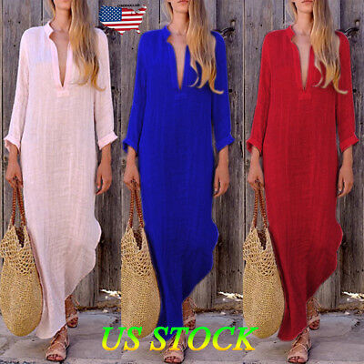 Women Kaftan Plain Long Sleeve Dress VNeck Loose Casual Evening Party Maxi Dress