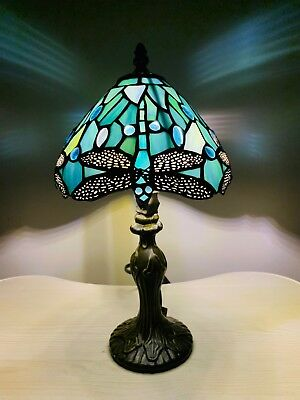 "14"" Pair Tiffany Table Lamps Sea Blue Stained Glass and Crystal Bead Dragonfly"