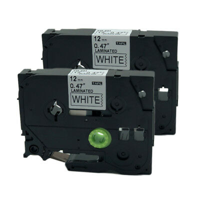 2PK Black on White Label Tape Compatible for Brother TZ 231 TZe-231 P-Touch 12mm